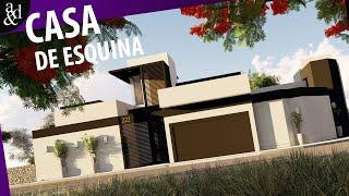 CASA MODERNA EM TERRENO DE ESQUINA | 204,80m² | PLANTA HUMANIZADA.