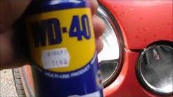 WD-40 testi auton ajovalot, maalipinta ja vanteet.