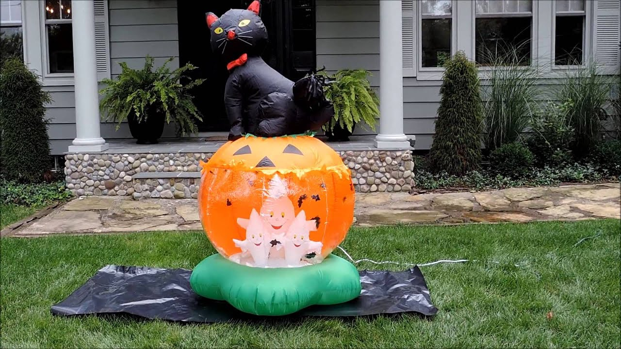 Airblown halloween inflatable animated lighted cat