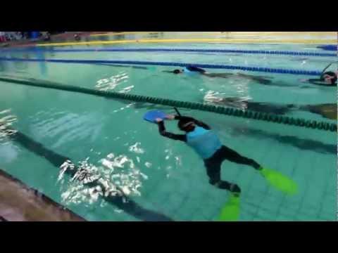 Dynamic with fins Alexey Potapenko 200 m Yulia Maryevich 152 m DYN Aida Russian Freediving Cup 2013