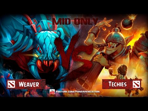 видео: weaver vs techies [Битва героев mid only] dota 2