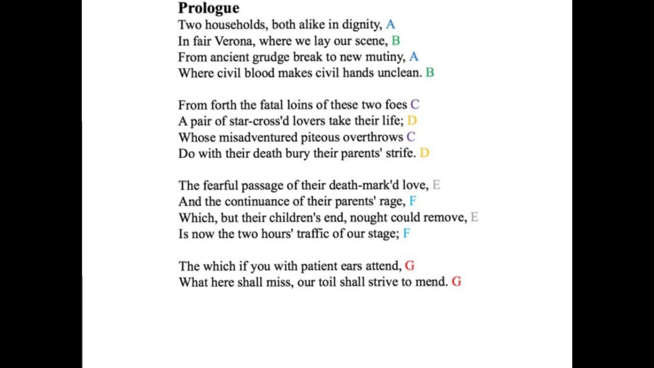 Prologue To Romeo And Juliet Sonnet Form YouTube