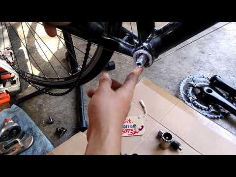 วิธีถอดจานหน้าจักรยาน+กะโหลกแบริ่ง / Line ; @xmh0251s