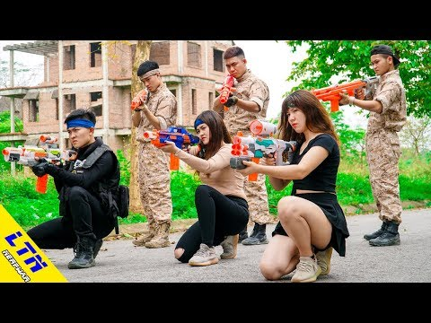 LTN Nerf War : Seal X & Delta Force T Nerf Guns Fight Criminal Beautiful Warrior Girls