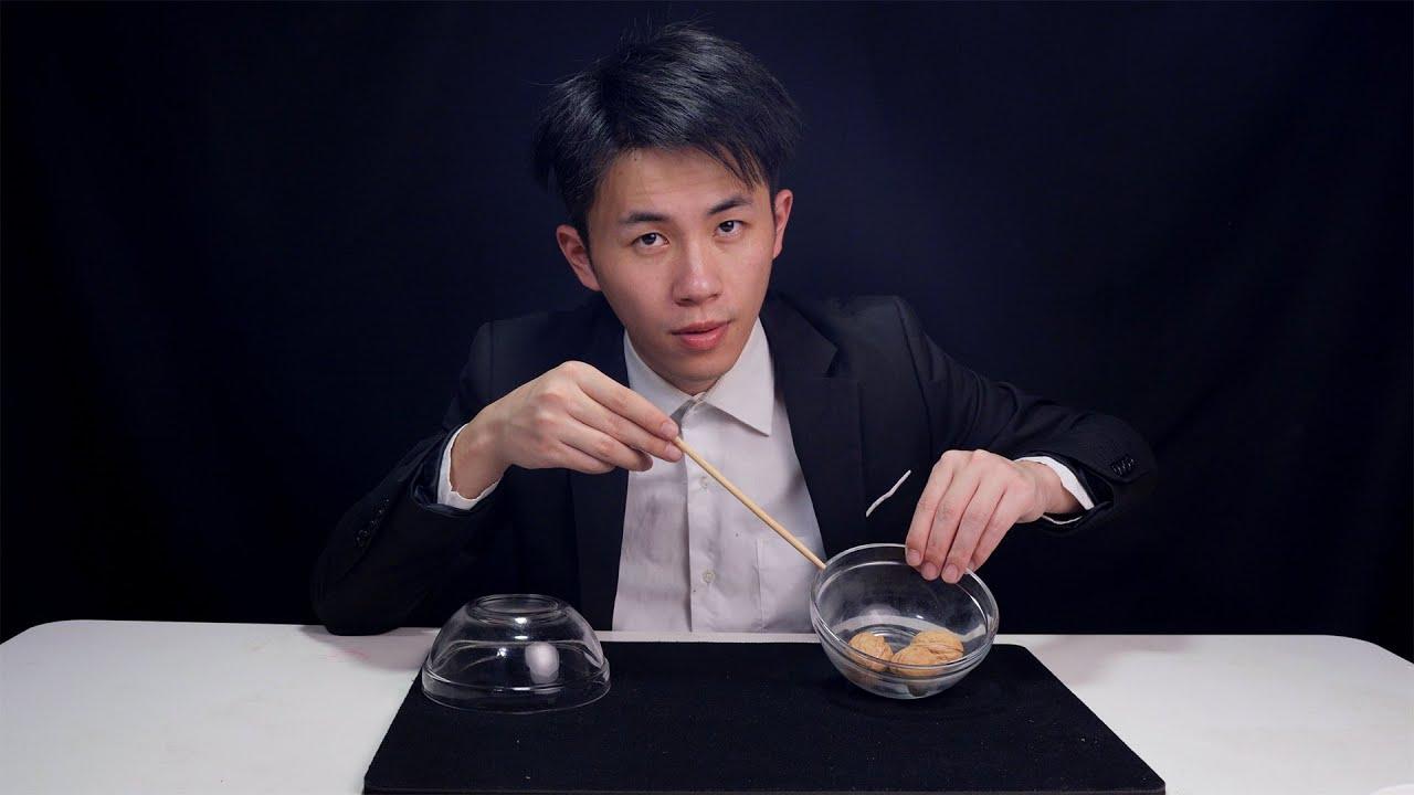 魔术揭秘:新版本三仙歸洞戲法,用透明碗核桃演示手法看起來清清楚楚