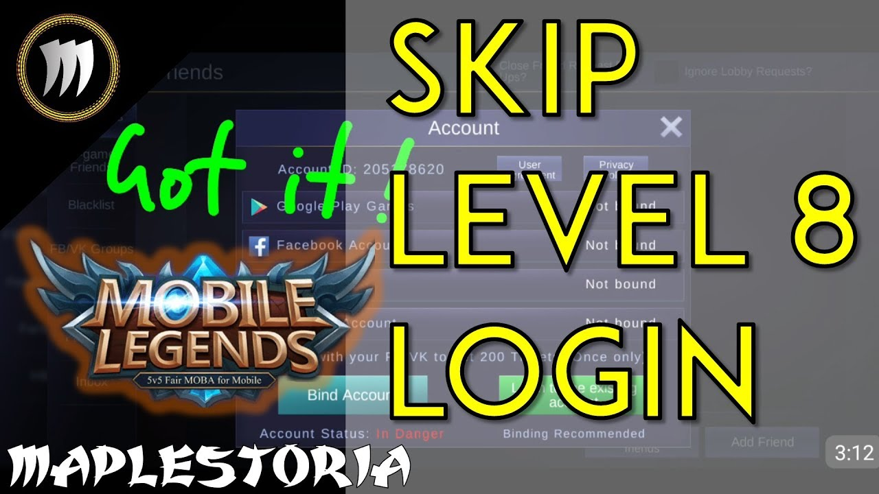 [MAY 2018] BYPASS/SKIP LEVEL 8 REQUIREMENT! Mobile Legends Log In to  Existing Account Guide