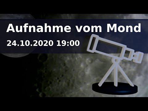 Teleskop Aufnahme vom Mond am 24.10.2020 19:00