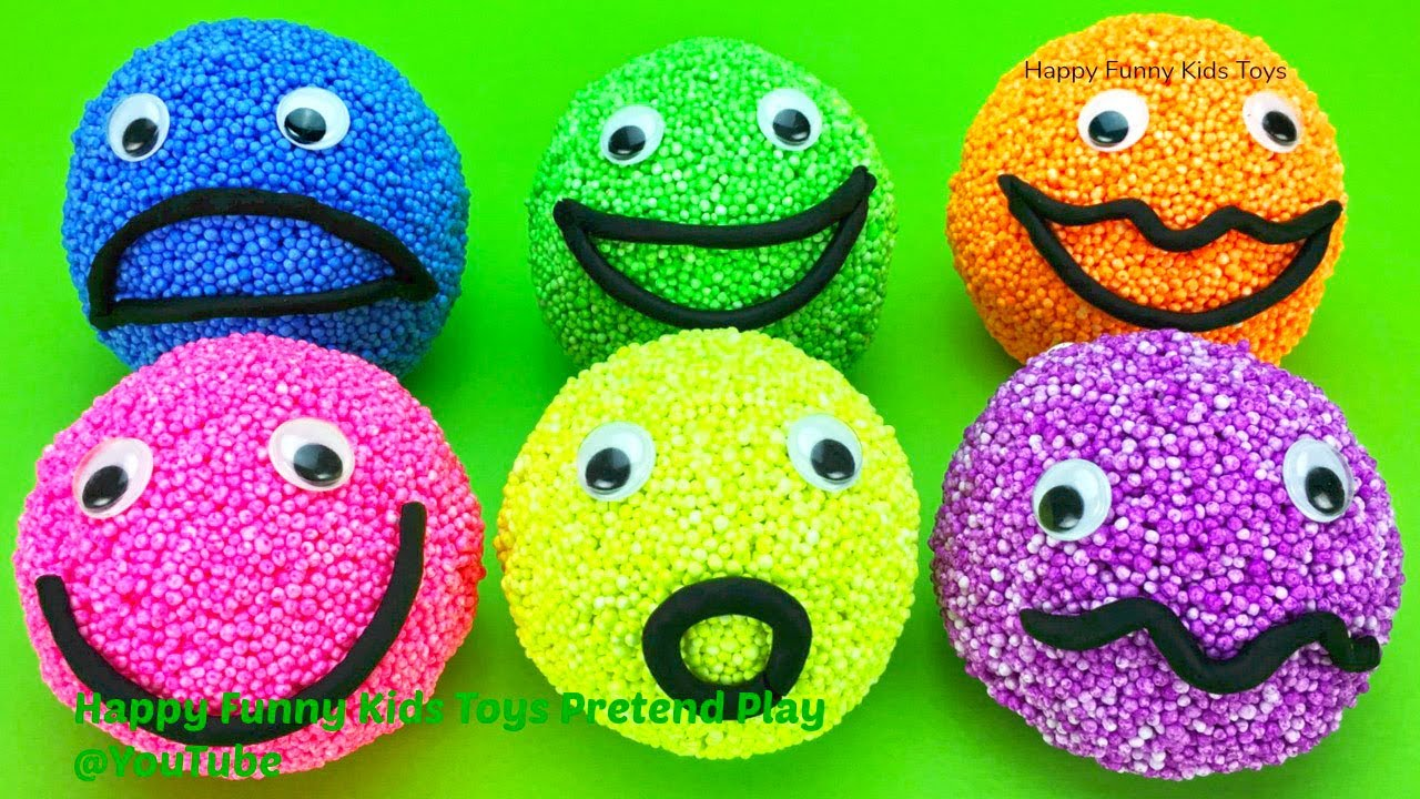 6 Play Foam Balls Happy Smiley Faces with Surprise Toys