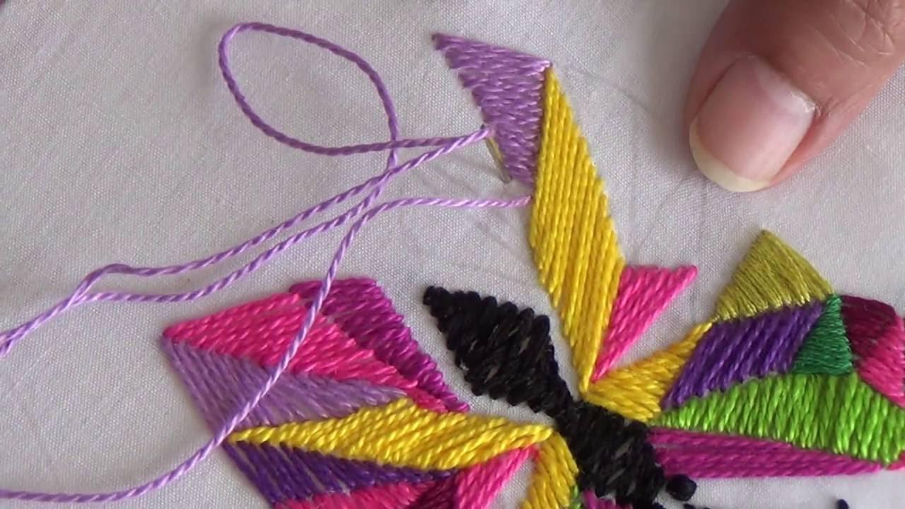 Hand Embroidery Satin Straight Herringbone Stitch