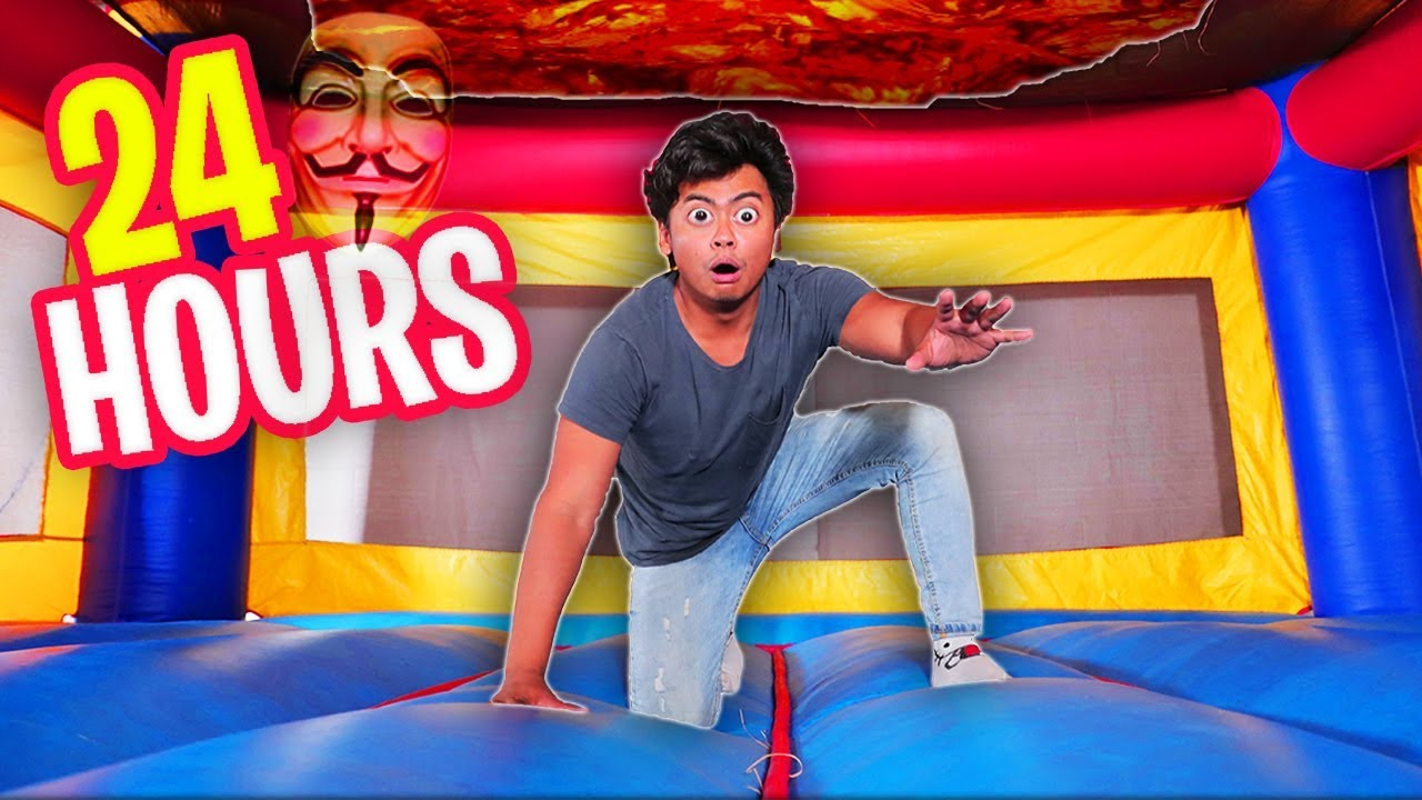 Trapped in a $100,000 BOUNCY HOUSE for 24 HOURS!
