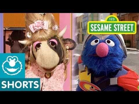 Sesame Street: Super Grover Helps a Cow Down the Stairs