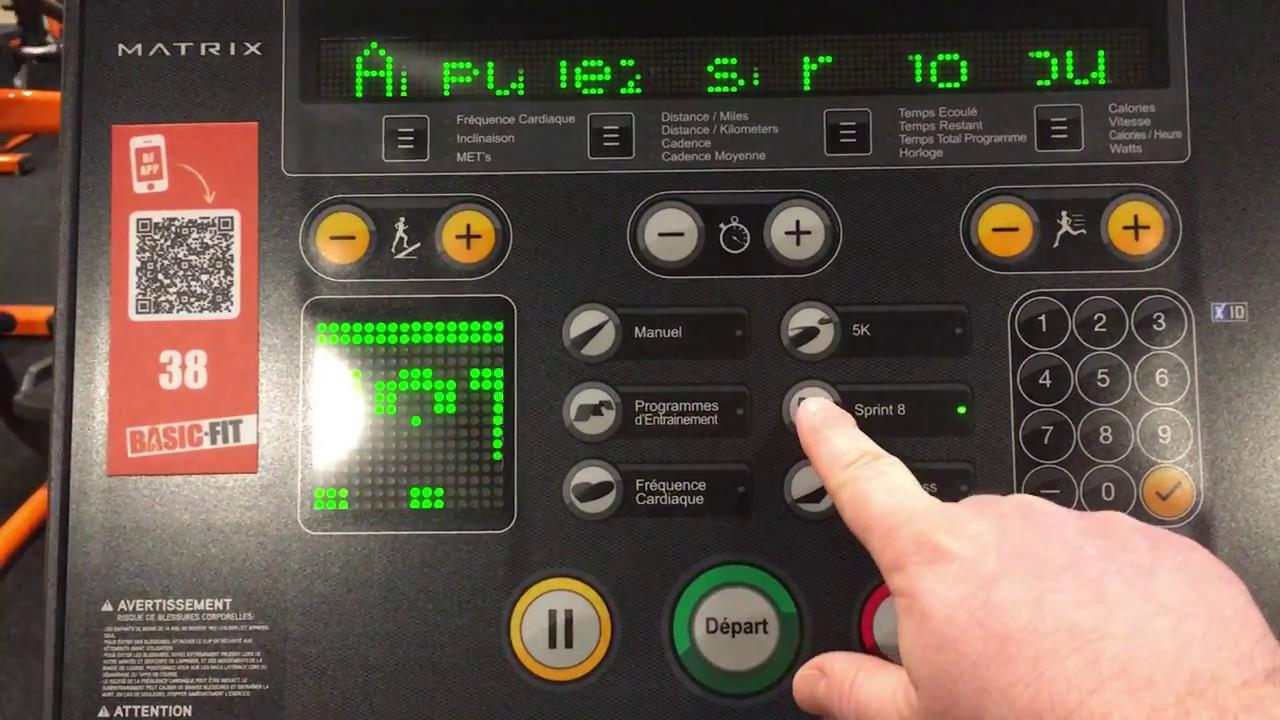 basic fit programmer treadmill matrix pour un entrainement spint 8 hiit sur tapis de course. Black Bedroom Furniture Sets. Home Design Ideas