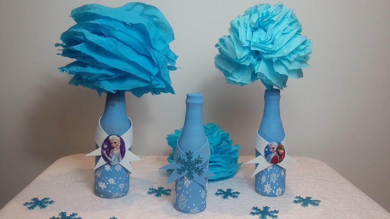 Como encapar garrafas com bexiga decorao Frozen centro
