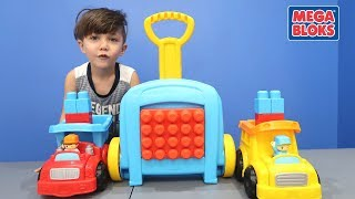 Zack Plays School Bus and Fire Truck Mega Bloks Toy for Children! Mattel