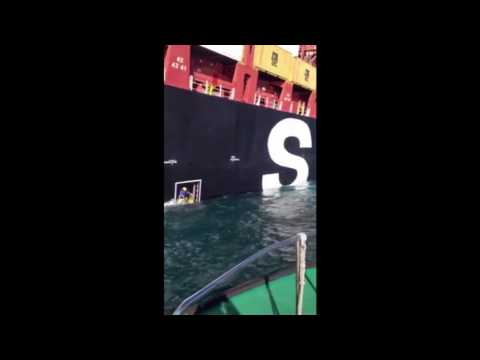 Crazy Pilot Boarding Ship in (not so rough sea)