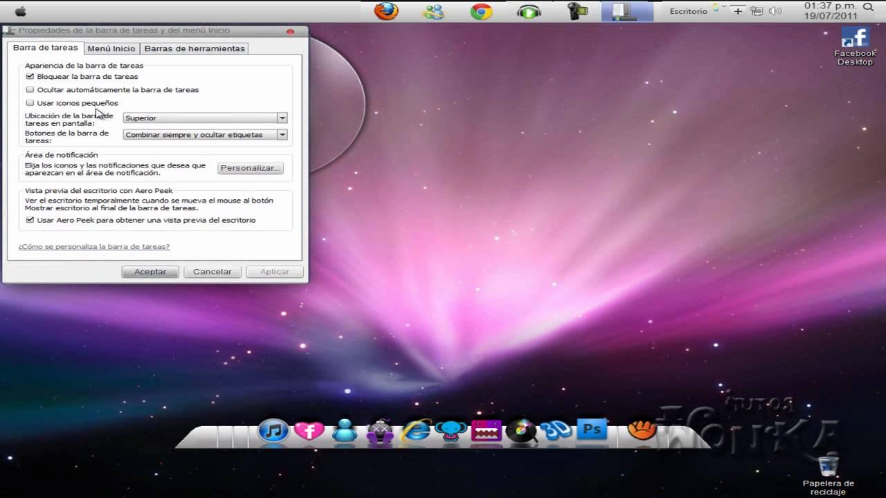 barra de tareas estilo mac para windows xp