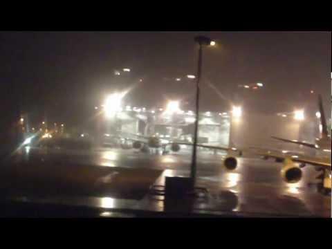 Hong Kong Airport. Takeoff at night in a Thunderstorm. Chek Lap Kok