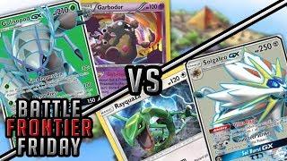 Golisopod GX Garbodor VS Rayquaza Solgaleo GX Pokemon TCG Matchup | Battle Frontier Friday #39