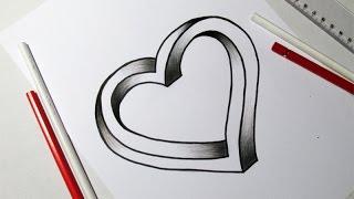 Como Desenhar Coração 3D/Ilusão de Ótica
