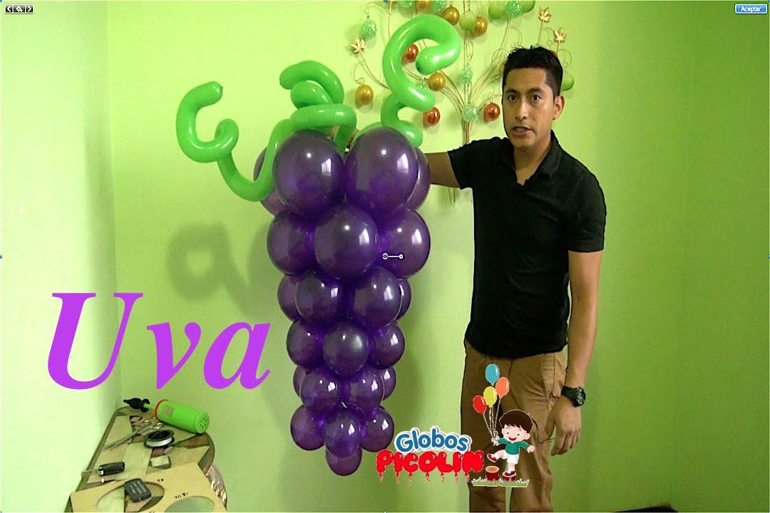 Racimo de uvas con globos para primera comuni n f cil y for Adornos colgar pared
