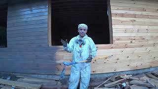 Покраска деревянных домов, безвоздушка, кисть, Грин вуд