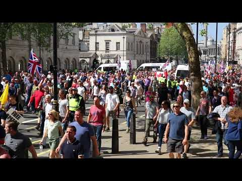 Thousands march down Whitehall for Tommy Robinson's Day of Freedom event