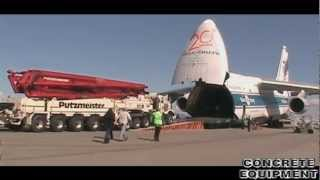 Putzmeister concrete pump loading into Antonov AH-124 plane, Los Angeles(, 2011-04-09T08:24:21.000Z)