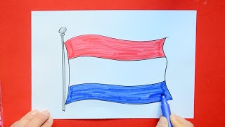How to draw and color the National Flag of The Netherlands