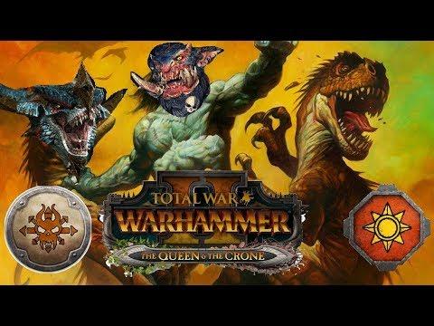 Norsca vs Lizardmen  Total War Warhammer 2  The Queen &  The Crone DLC