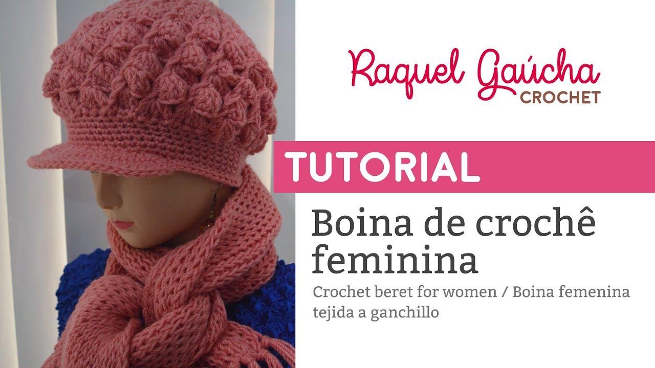 Tutorial - Boina de crochê feminina com aba - YouTube d66b1284f45