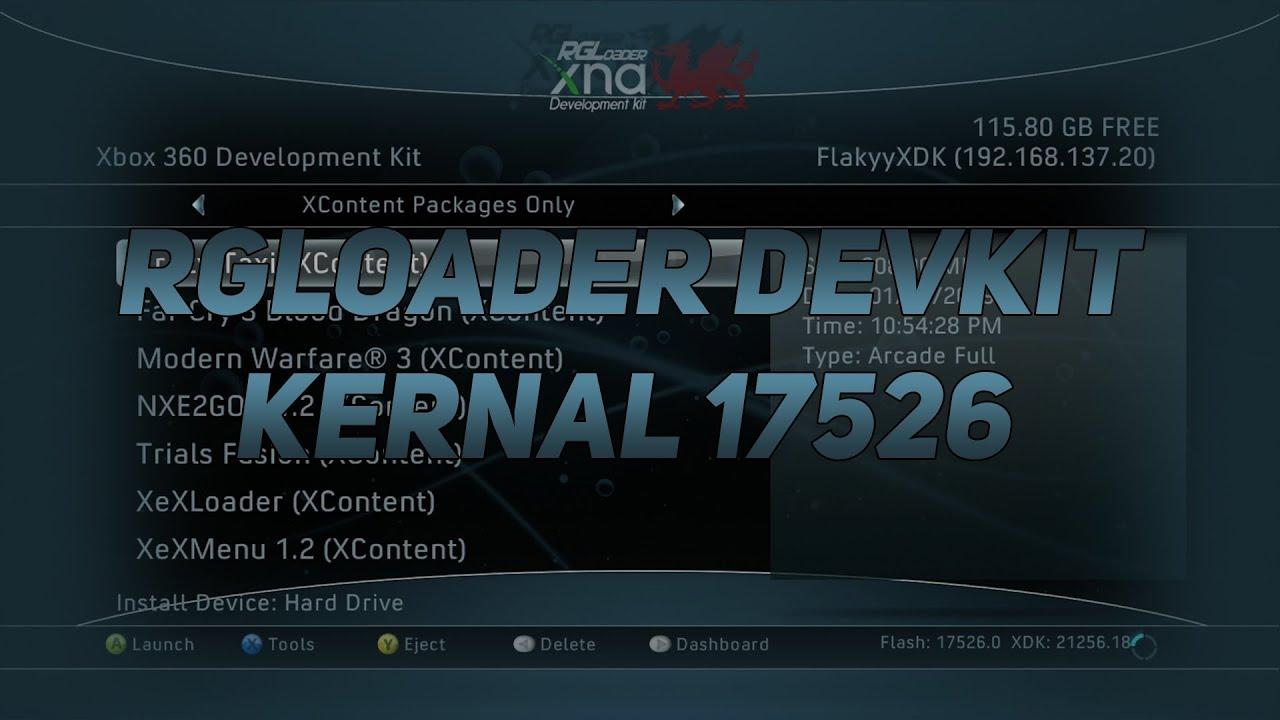 RGLoader 17526 DevKit Nand running on Trinity RGH 1 2