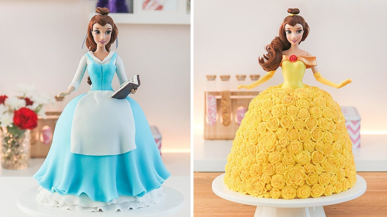 Download DISNEY PRINCESS 🌹BELLE DOLL CAKE - BEAUTY AND THE BEAST - TAN DULCE