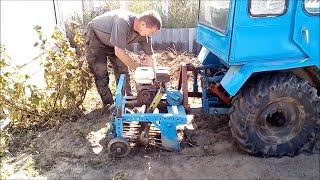 Қолдан жасалған трактор қозғалтқышы ЗиД. Копаю картоху копалкой.