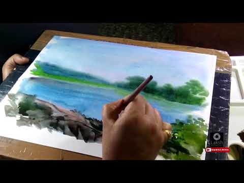 SIMPLE WATERCOLOUR LANDSCAPE 03 |HD| SEKHAR BASU