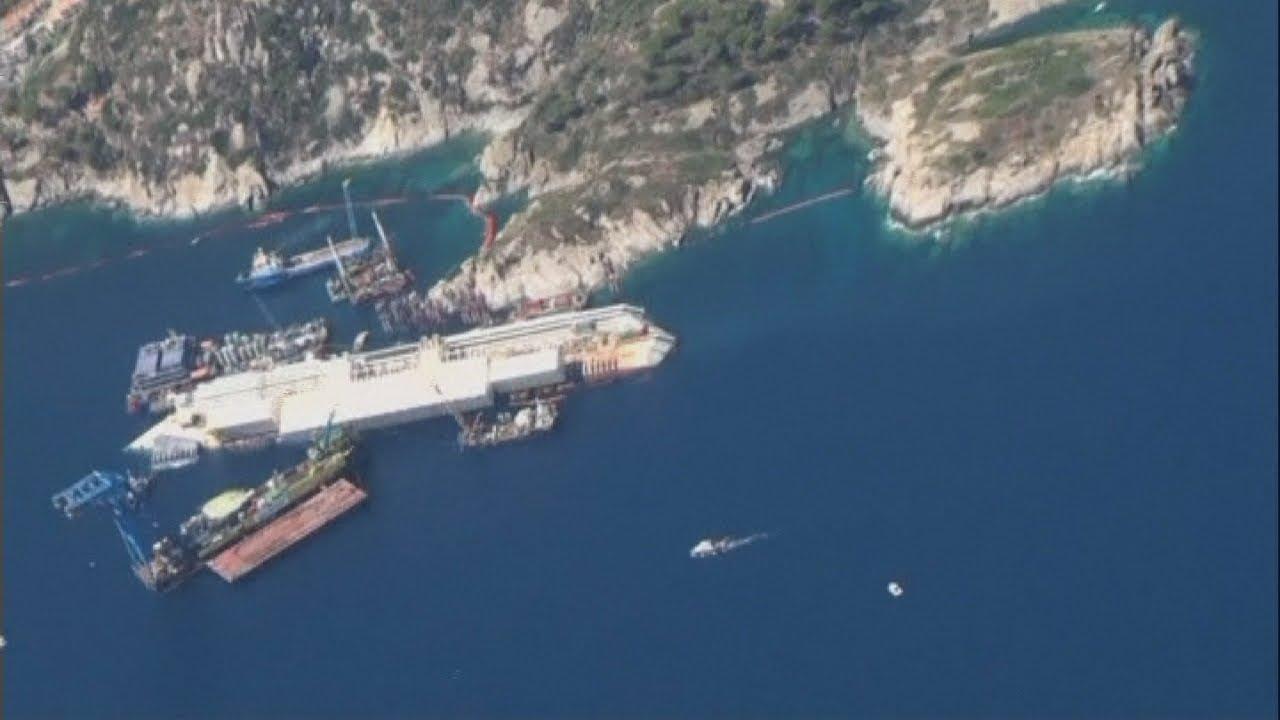 Costa Concordia: Rare aerial footage of the stricken liner