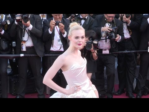 Elle Fanning on the red carpet for the Opening Ceremony of the 70th Cannes Film Festival
