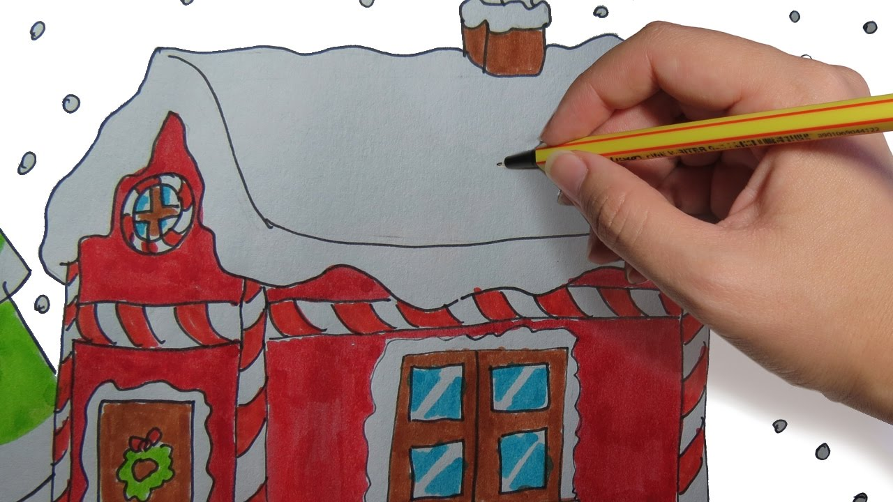 Como Dibujar Una Casa De Navidad Paso A Paso Facil Dibujos De Navidad Para Niños A Color