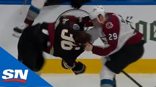 Mackinnon Drops Gloves With Fischer After Crouse Crushes Makar Into Boards