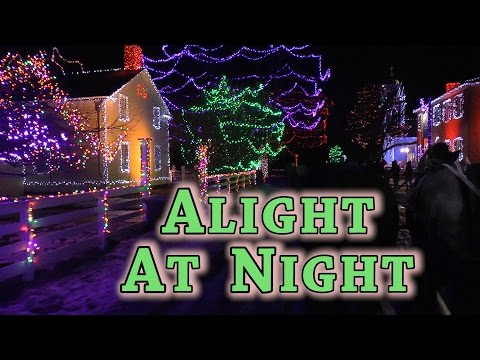 Wonderful Christmas Lights In Little Canadian Town. Alight At Night Festival. Magical Music Video.