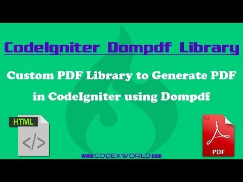 Convert HTML to PDF in CodeIgniter using Dompdf - YouTube
