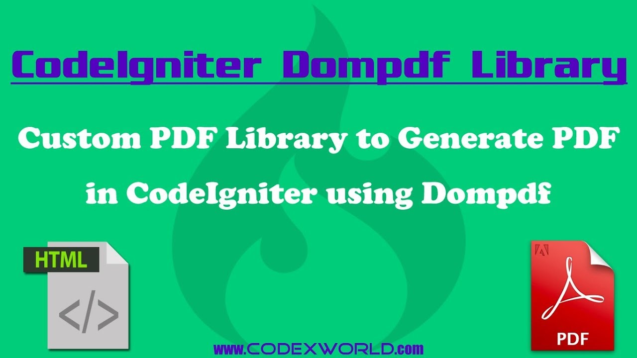 Convert HTML to PDF in CodeIgniter using Dompdf - CodexWorld