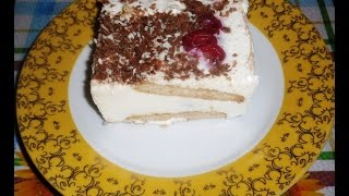 Творожный торт без выпечки с вишнями