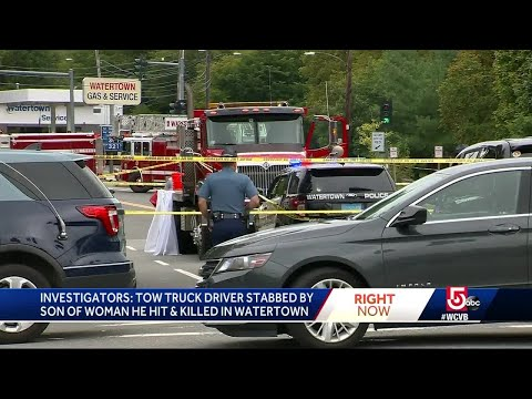 Tow truck driver stabbed by son of woman he hit and killed