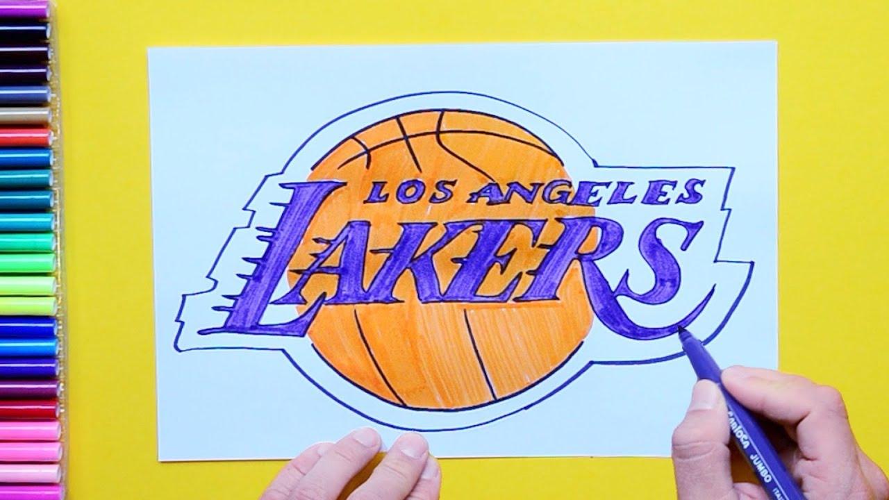 Nba Logos 2017 >> How to draw LA Lakers logo (NBA Team) - YouTube