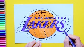 How to draw and color the LA Lakers logo - NBA Team Series