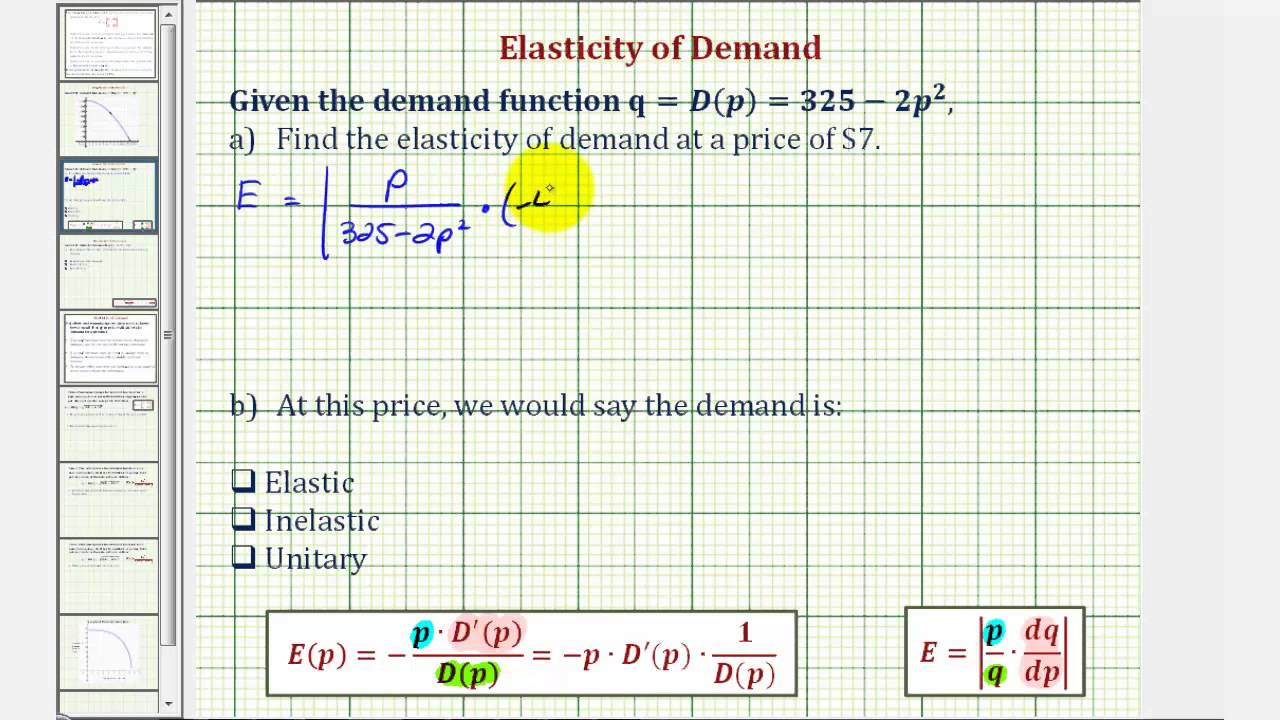 Ex Elasticity Of Demand Quadratic Demand Function Youtube