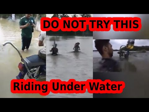DO NOT TRY THIS- Riding Modified Motorcycles Underwater (almost) In Floods- Jugaad Technology.