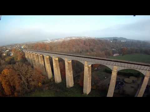 Aerial view Pontcysyllte Aqueduct - World Heritage Site - Llangollen Canal