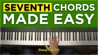 an easy way to learn major 7th and dominant 7th chords piano tutorial 8