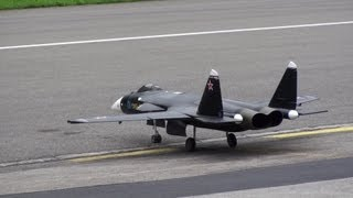 Last flight Sukhoi SU-47 JET WORLD MASTERS MEIRINGEN SWITZERLAND 2013